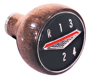 1966-68 LeMans Shifter Knob, Walnut 4-Speed, Walnut Wood