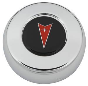 1964-1971 Tempest Steering Wheel Horn Cap, Arrowhead Red Arrowhead on Black, by Grant