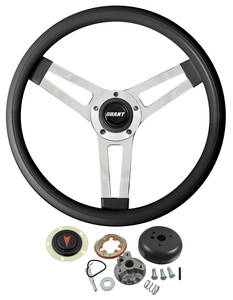 1964-66 Bonneville Steering Wheel, Classic Series Black Wheel w/o Tilt, by Grant
