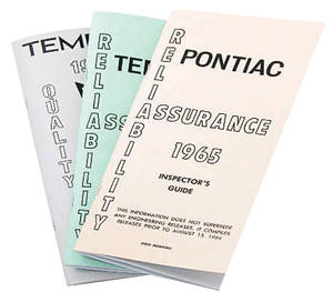 1965 Inspectors Guides For Pontiac Tempest & LeMans