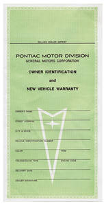 Pontiac Factory Warranty Card New Vehicle Owner's Identification Card