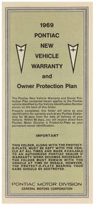 1969 Grand Prix Pontiac Factory Warranty Card