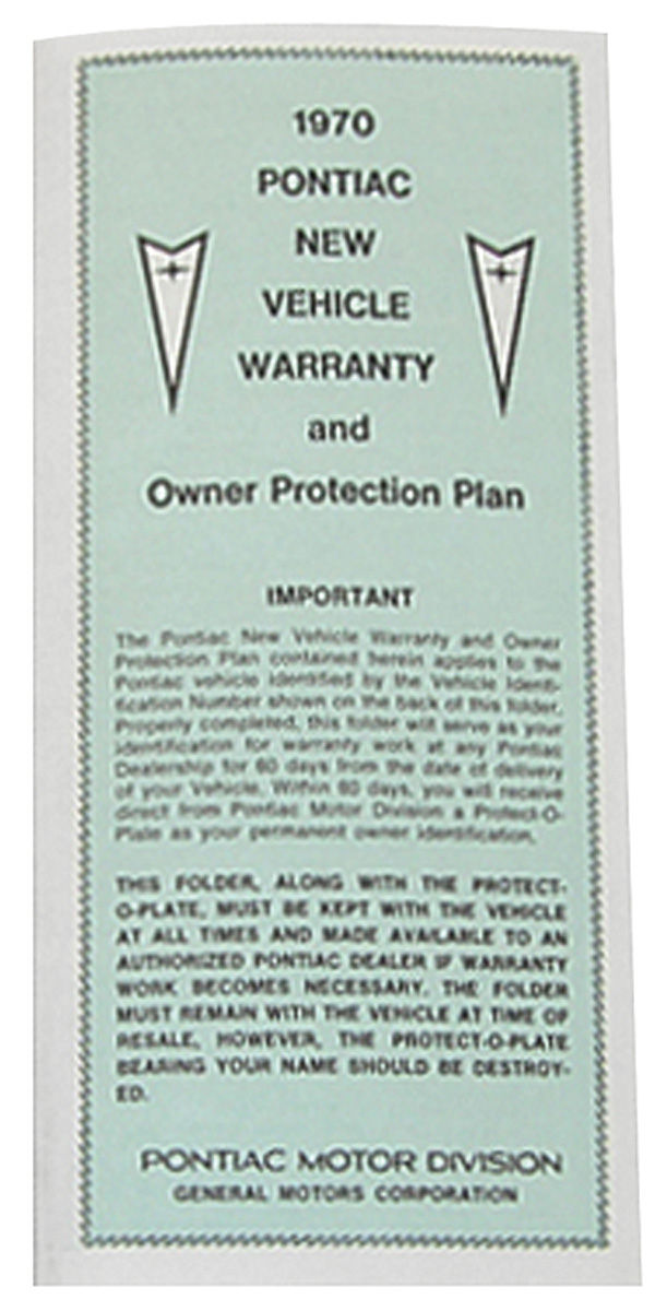 Photo of Pontiac Factory Warranty Card
