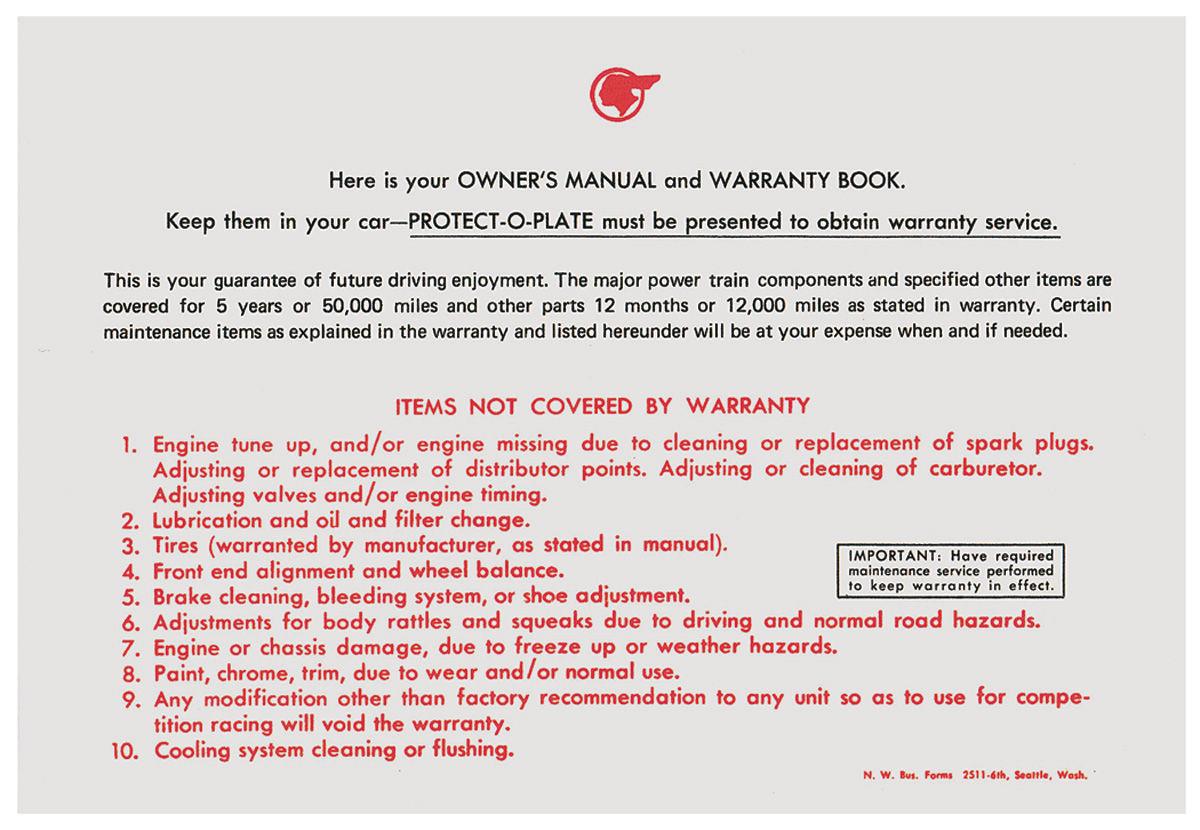Photo of Owner's Manual Envelope