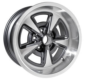 "1964-1973 LeMans Wheel, Aluminum Rally II Gunmetal, 17"" X 9"" (5-1/8"" B.S.), by U.S. Wheel"