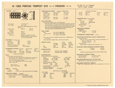 1969-1969 GTO Factory Tune-Up Cards Pontiac V8 400 w/4-BBL, 350 HP