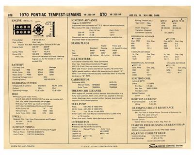 1970 Grand Prix Factory Tune-Up Cards Pontiac V8 400 w/4-BBL, 330-350 HP