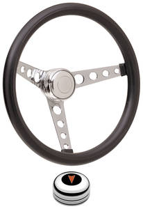 1959-63 Bonneville Steering Wheel Kits, Classic Foam Tall Cap - Polished with Arrowhead Center, Early Mount