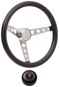 1959-63 Bonneville Steering Wheel Kits, Classic Foam Tall Cap - Black with Arrowhead Center, Early Mount