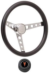 1959-63 Bonneville Steering Wheel Kits, Classic Foam Hi-Rise Cap - Black with Arrowhead Center, Early Mount