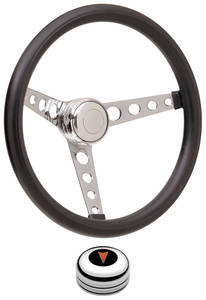1969-77 Bonneville Steering Wheel Kits, Classic Foam Tall Cap - Polished with Arrowhead Center, Late Mount