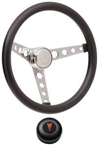 1969-77 Bonneville Steering Wheel Kits, Classic Foam Tall Cap - Black with Arrowhead Center, Late Mount