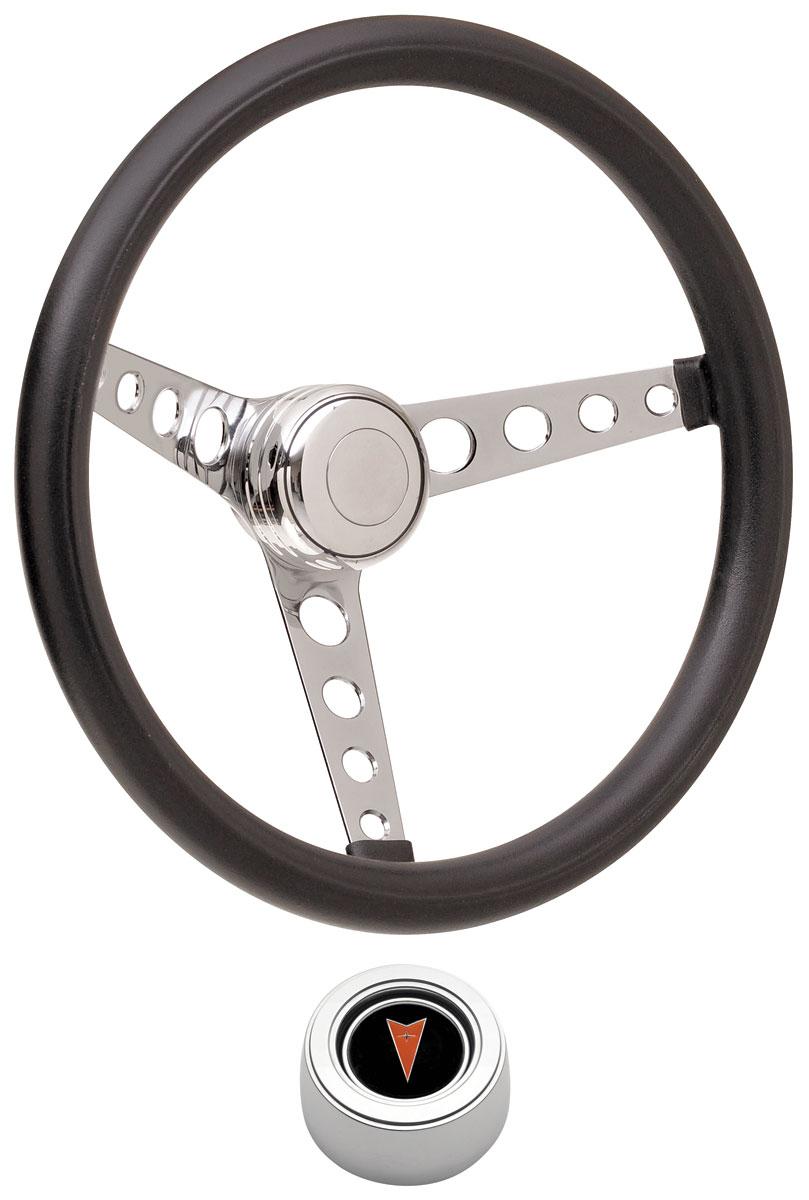 Photo of Steering Wheel Kits, Classic Foam Hi-Rise Cap - Polished with arrowhead center, late mount