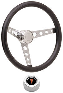 1969-77 Bonneville Steering Wheel Kits, Classic Foam Hi-Rise Cap - Polished with Arrowhead Center, Late Mount
