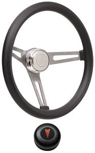 1959-63 Bonneville Steering Wheel Kits, Retro Foam Tall Cap - Black with Arrowhead Center, Early Mount