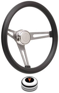 1969-77 Bonneville Steering Wheel Kits, Retro Foam Tall Cap - Polished with Arrowhead Center, Late Mount