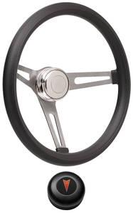 1969-1977 Bonneville Steering Wheel Kits, Retro Foam Tall Cap - Black with Arrowhead Center, Late Mount