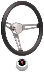 1969-1977 Bonneville Steering Wheel Kits, Retro Foam Hi-Rise Cap - Polished with Arrowhead Center, Late Mount