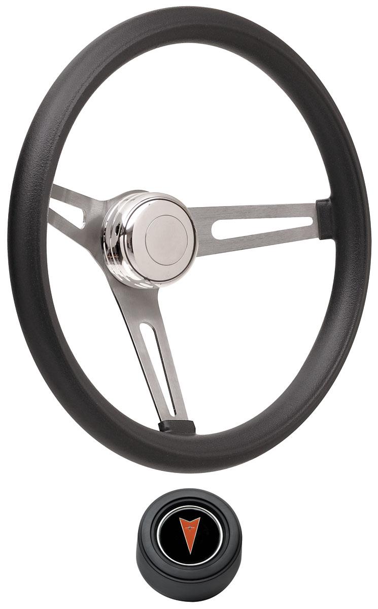 Photo of Steering Wheel Kits, Retro Foam Hi-Rise Cap - Black with arrowhead center, late mount