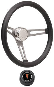 1969-77 Bonneville Steering Wheel Kits, Retro Foam Hi-Rise Cap - Black with Arrowhead Center, Late Mount