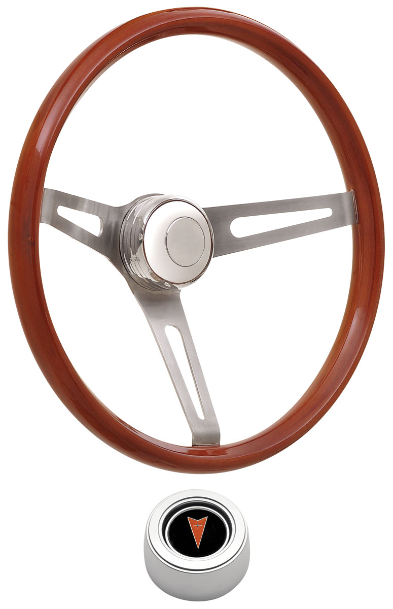 Photo of Steering Wheel Kits, Retro Wood Hi-Rise Cap - Polished with arrowhead center, early mount