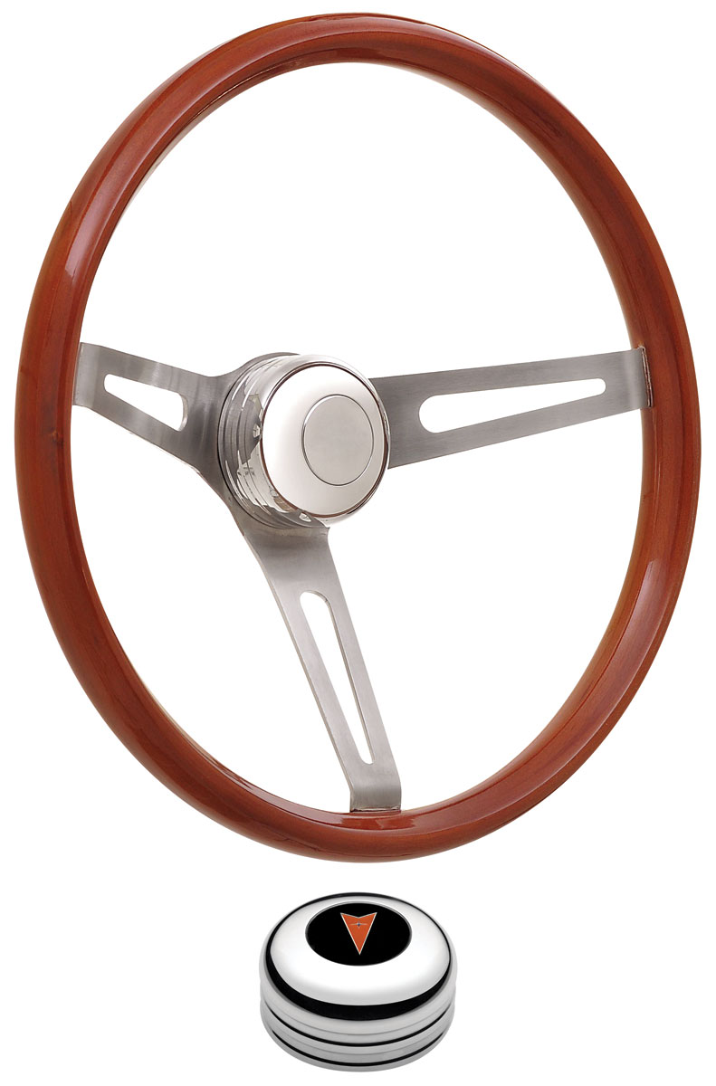 Photo of Steering Wheel Kits, Retro Wood Tall Cap - Polished with arrowhead center, late mount