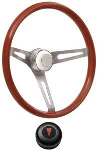 1969-1977 Bonneville Steering Wheel Kits, Retro Wood Tall Cap - Black with Arrowhead Center, Late Mount