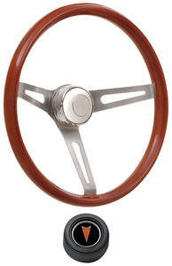 1969-1977 Bonneville Steering Wheel Kits, Retro Wood Hi-Rise Cap - Black with Arrowhead Center, Late Mount