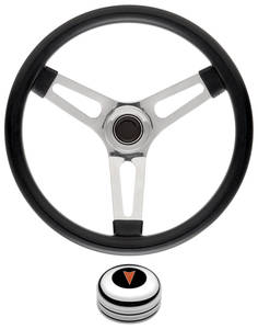 "1969-77 Bonneville Steering Wheel Kits, Symmetrical Style Tall Cap - Polished Late 1-1/2"" Dish with Arrowhead Center"