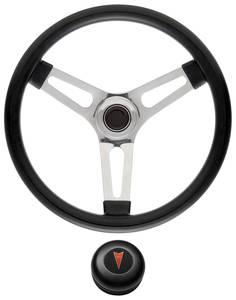 "1969-77 Bonneville Steering Wheel Kits, Symmetrical Style Tall Cap - Black Late 1-1/2"" Dish with Arrowhead Center"