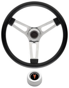 "1969-1977 Bonneville Steering Wheel Kits, Symmetrical Style Hi-Rise Cap - Polished Late 1-1/2"" Dish with Arrowhead Center"