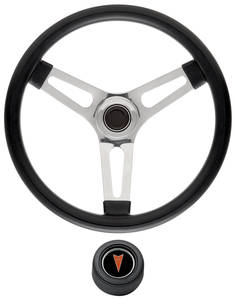 "1969-77 Bonneville Steering Wheel Kits, Symmetrical Style Hi-Rise Cap - Black Late 1-1/2"" Dish with Arrowhead Center"