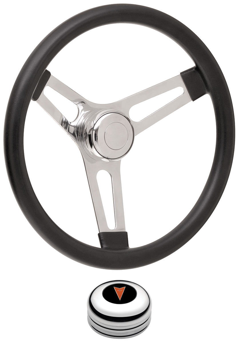 "Photo of Steering Wheel Kits, Symmetrical Style Tall Cap - Polished Early 3-1/4"" dish with arrowhead center"
