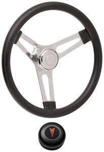 "1967-68 Bonneville Steering Wheel Kits, Symmetrical Style Tall Cap - Black Early 3-1/4"" Dish with Arrowhead Center"