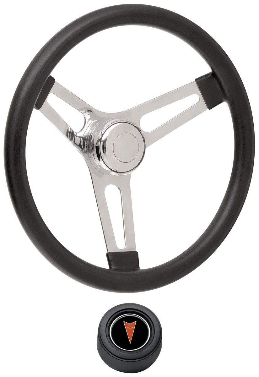 "Photo of Steering Wheel Kits, Symmetrical Style Hi-Rise Cap - Black Early 3-1/4"" dish with arrowhead center"