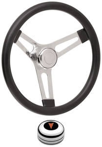 "1969-1977 Bonneville Steering Wheel Kits, Symmetrical Style Tall Cap - Polished Late 3-1/4"" Dish with Arrowhead Center"
