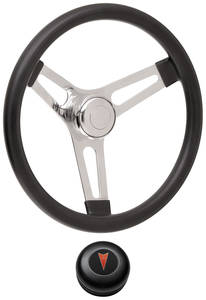 "1969-77 Bonneville Steering Wheel Kits, Symmetrical Style Tall Cap - Black Late 3-1/4"" Dish with Arrowhead Center"