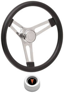 "1969-77 Bonneville Steering Wheel Kits, Symmetrical Style Hi-Rise Cap - Polished Early 3-1/4"" Dish with Arrowhead Center"
