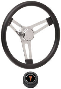 "1969-77 Bonneville Steering Wheel Kits, Symmetrical Style Hi-Rise Cap - Black Late 3-1/4"" Dish with Arrowhead Center"
