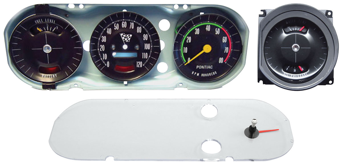 gauge cluster assembly premium gto rally gauge late style fits 1965 gto. Black Bedroom Furniture Sets. Home Design Ideas