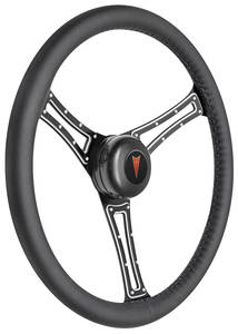 1969-1977 Bonneville Steering Wheel Kit, Autocross Leather Tall Cap - Black with Arrowhead Center, Late Mount