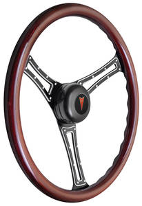 1969-1977 Bonneville Steering Wheel Kit, Autocross Wood Tall Cap - Black with Arrowhead Center, Late Mount