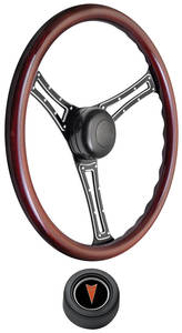 1969-77 Bonneville Steering Wheel Kit, Autocross Wood Hi-Rise Cap - Black with Arrowhead Center, Late Mount