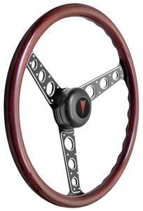 1969-76 Bonneville Steering Wheel Kit, Autocross II Wood Tall Cap - Black with Arrowhead Center, Late Mount