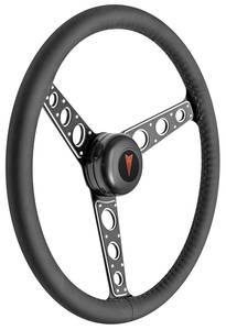 1969-77 Bonneville Steering Wheel Kit, Autocross II Leather Tall Cap - Black with Arrowhead Center, Late Mount