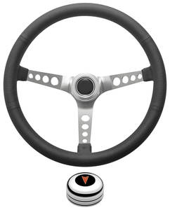 1969-1977 Bonneville Steering Wheel Kit, Retro Wheel With Holes Tall Cap - Polished with Arrowhead Center, Late Mount