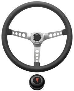 1969-77 Bonneville Steering Wheel Kit, Retro Wheel With Holes Tall Cap - Black with Arrowhead Center, Late Mount