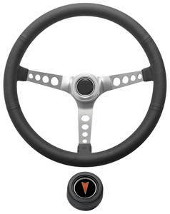 1969-77 Bonneville Steering Wheel Kit, Retro Wheel With Holes Hi-Rise Cap - Black with Arrowhead Center, Late Mount