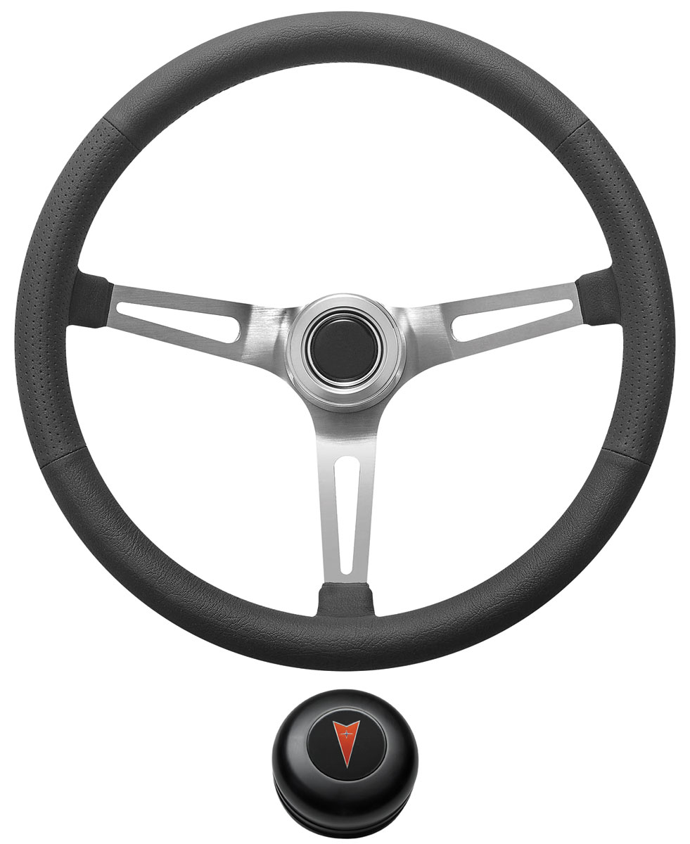 Photo of Steering Wheel Kit, Retro Wheel With Slots Tall Cap - Black with arrowhead center, early mount