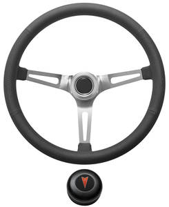 1967-68 Bonneville Steering Wheel Kit, Retro Wheel With Slots Tall Cap - Black with Arrowhead Center, Early Mount